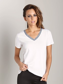 First Base Sports V Neck Tee White