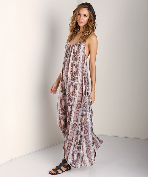 9seed Antigua Triangle T-Back Long Coverup Pink Snake