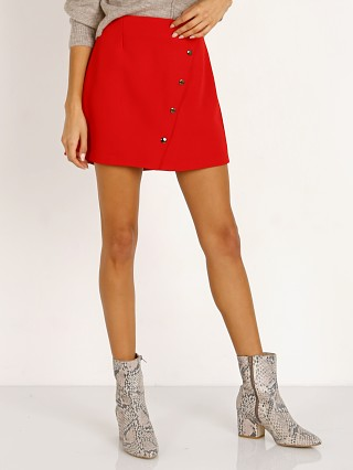 Model in lipstick red ASTR the Label Evan Skirt