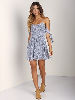 For Love & Lemons Kiss Me Dress Blue Floral