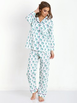 Marigot Long Pajama Set Emerald Owl
