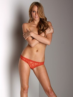 Only Hearts Stretch Lace Thong Papaya