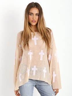 WILDFOX Judgement Roadie Sweater Brown Egg