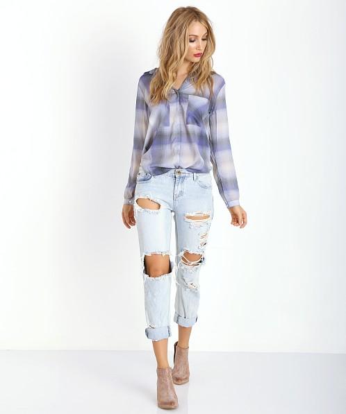 Bella dahl hipster shirt ethereal blue plaid b2893 758 for Bella dahl plaid shirt