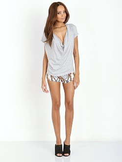 Free People Fantasy Jersey Cowl Tee Heather Grey