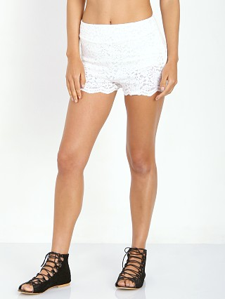 Free People Floral Lace Biker Short Ivory