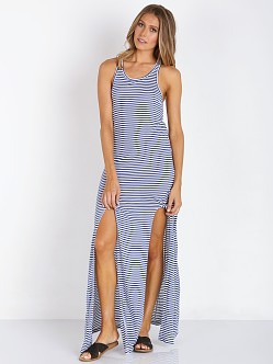 MinkPink Sail Away Maxi Dress Navy/White