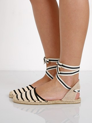 Soludos Classic Sandals Stripe Natural Black Stripe