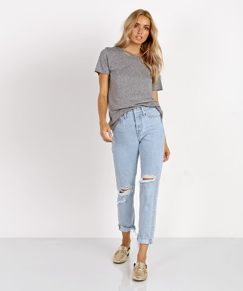59de42f739fe n: PHILANTHROPY Harlow-Distressed Bff Tee Heather Grey TO140JMT00 - Free  Shipping at Largo Drive