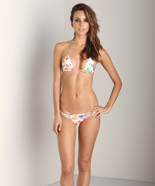 Indah Tom Basic Triangle Bikini Top White Fish