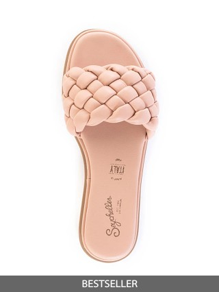 Model in nude Seychelles Bellissima Braided Slide