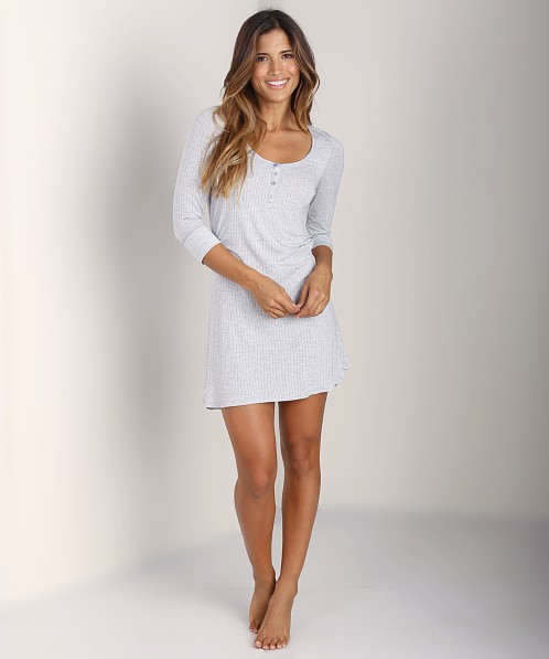 Splendid Rib Henley Chemise Heather Grey