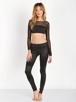 SOLOW Jersey Mesh Crop Top Black
