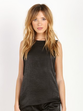 SOLOW Asymmetrical Mesh-Back Tank Black
