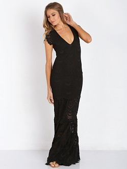 Nightcap Spanish Lace Deep V Gown Black