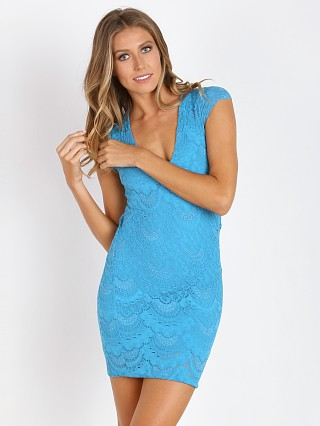 Nightcap Spanish Lace Deep V Cap Sleeve Turquoise