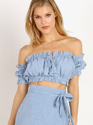 Rue Stiic Gloria Off Shoulder Top French Blue Stripe