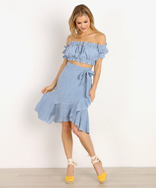 Rue Stiic Monterey Skirt French Blue Stripe