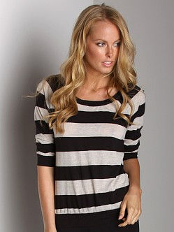 Splendid Oat Rugby Stripe Sweater Black