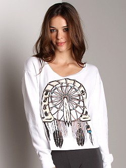 Lauren Moshi Farrah Crop Sweatshirt Native Horseshoe White