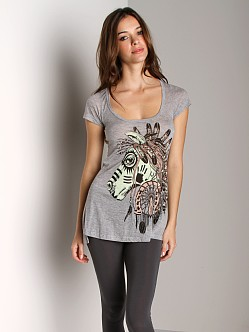 Lauren Moshi Corey Football Tee Tribal Horse Heather Grey