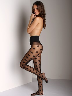 Commando Hosiery 10 Den Sheet Tight with Dots Black
