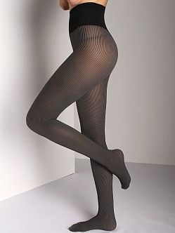 Commando Hosiery 2 Tone Ribbed Tight Black/Grey