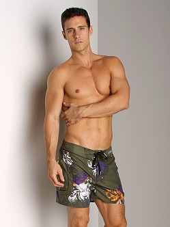 Diesel Blans Printed Swim Boxer Military Green