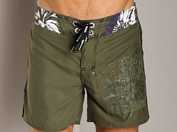 Diesel Blans Logo Swim Boxer Military Green