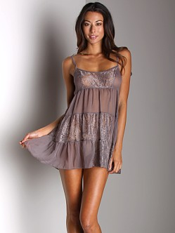 Free People Chiffon and Lace Ruffle Slip Taupe