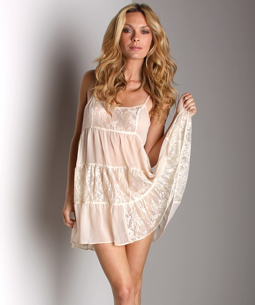 Free People Chiffon and Lace Ruffle Slip Antique