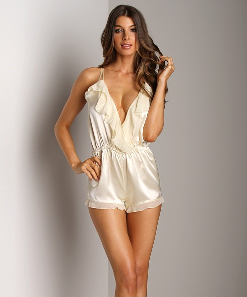 La Fee Verte Silk Romper Cream