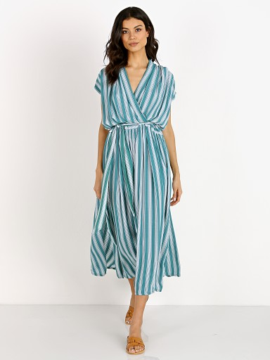 La Confection Aia Dress Stripe Sea Green
