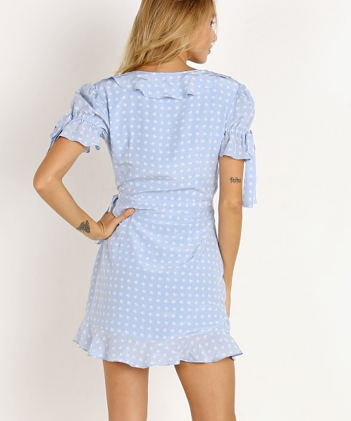 For Love & Lemons Sweetheart Wrap Mini Dress Periwinkle