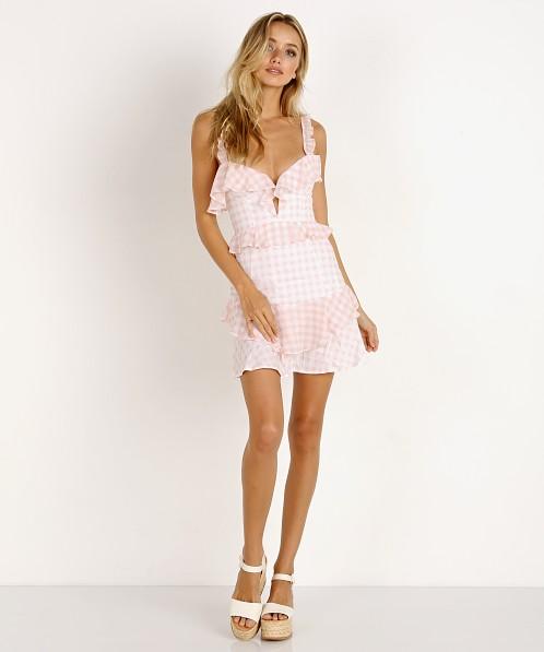 813a6e2907 For Love Lemons Dixie Ruffle Mini Dress Pink Gingham Cd1715c Su18