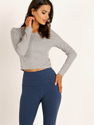 Beyond Yoga Keep in Line Cropped Pullover Light Heather Gray