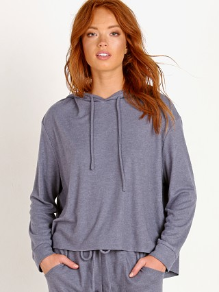 Eberjey High Low Hoodie Coal Blue