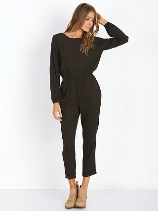 Model in black Tularosa Prima Jumpsuit