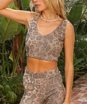 LNA Clothing Valley Rib Crop Leopard, view 3