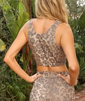 LNA Clothing Valley Rib Crop Leopard, view 4