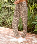 LNA Clothing Brushed Rib Pant Leopard, view 3