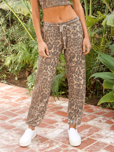 Model in leopard LNA Clothing Brushed Rib Pant