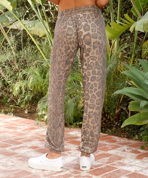 LNA Clothing Brushed Rib Pant Leopard