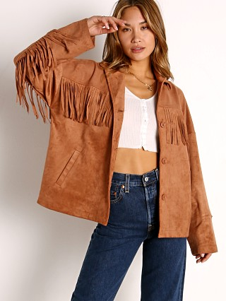 Model in terracotta BB Dakota Westworld Jacket