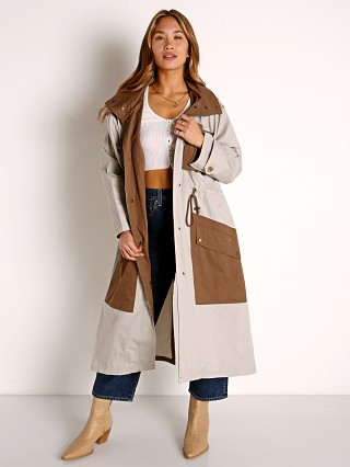 Model in tan BB Dakota Say You Twill Trench