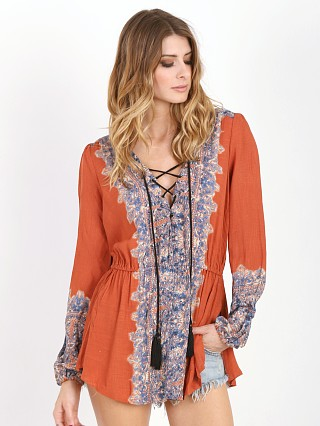 Free People Slubbed Crinkle Wildest Tunic Persimmon