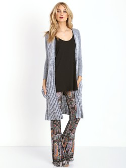 Free People Shadow Stripe Pocket Cardi Ivory Black