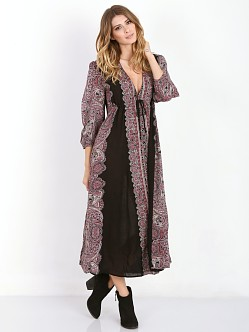 Free People Printed A-Line Midi Dress Black