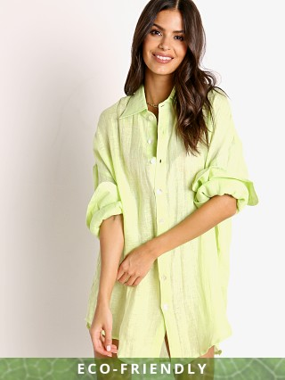 Model in citrus Vitamin A Eco Linen Playa Shirt Dress