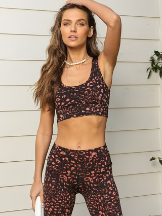 Complete the look: Varley Edris Sports Bra Red Animal